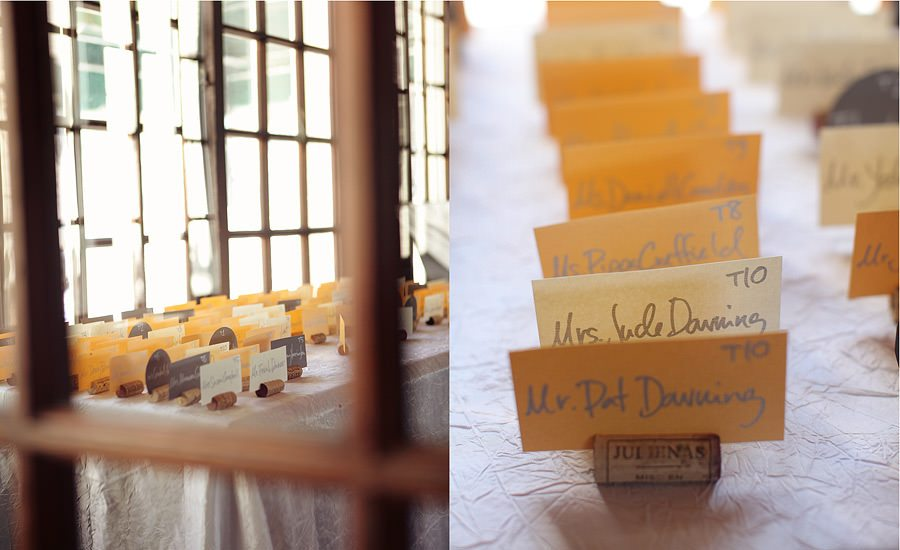 Walden Woods Wedding Photography using corks as placeholders